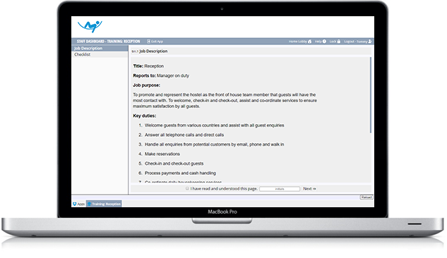 A laptop showing Rosterworks online training and appraisal software